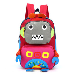 Wholesale Cute Robot Cartoon - 2017 3d Cartoon Robot Children Backpacks Kids Kindergarten Backpack Cute Child School Bags Satchel For Baby Boys And Girls Mochila