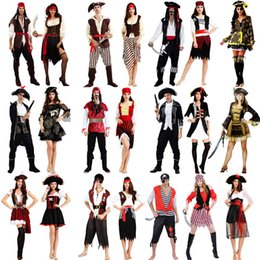 Wholesale Red Pirate Dress - 2018 Pirate Costume Caribbean Pirates Costume Adult Halloween Carnival Costumes Fantasia Fancy Dress Party Supplies