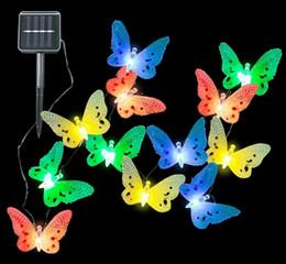 Wholesale led butterfly string lights - Solar Lamps 3.5M 12LED Optical Fiber Butterfly Fairy Outdoor Solar Light for Holiday Wedding Decoration String Lighting LLFA