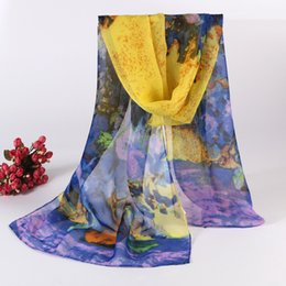 Wholesale Oil Paiting - 2015 Muffler Sarongs Flower Scarfs New Fashion Chinoiserie Women Scarf Oil Paiting Voile Printed Scarves 10 Pcs Lot-J159