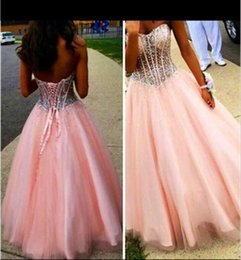 Wholesale One Piece Girls Classic - Crystals Sheer Waist Pink Corset Prom Dresses Floor-length Organza Beads Ball Gown Prom Dresses Shiny Beads Young Girls Pageant Dresses 2016
