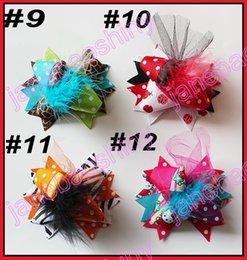 Wholesale Hair Clip Feather Bow - free shipping 45pcs 3'' Mini Funky Fun Over the Top Bows fashion girl hair bows feather clips