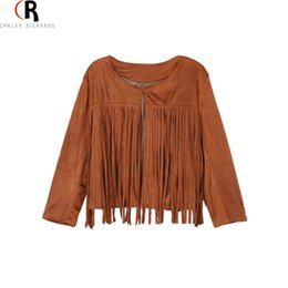 Wholesale Crop Leather Jacket Women - Wholesale-Brown Faux Suede Leather Long Sleeve Tassel Short Bomb Jacket Round Neck Crop Top Fall Coat 2015 Autumn Women Short Outwear