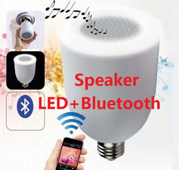 Wholesale Led Light Bulb Changable - Wireless Bluetooth Speaker with LED Light Bulb With RF Remote Control and Changable LED lamp E27 DHL FREE