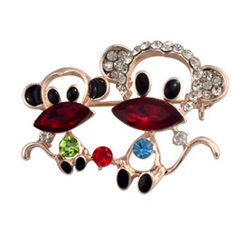 Wholesale Monkey Decorations - Mascot Lucky Monkey Brooches Hat Accessories Scarf Shoulder Decoration Rhinestone &Crystal Brooch Cute Animal Jewelry