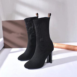 Wholesale leather ladies boots - [Original Box]New Luxury Womens Ankle Hlaf High Heel 10CM Woolen Sock-like Booties Ladies High Top Boots Aftergame Quincunx Heel Size 35-40