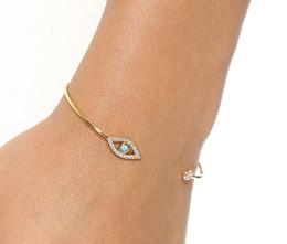 Wholesale Gold Open Cuff Bracelet - Simple Diamond Fatima Evil Eye Bracelet bangle newest women gold silver rose gold bracelets open cuff charm jewelry DIA.5.5cm drop shipping