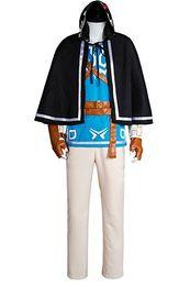 La Légende De Zelda Souffle Du Sauvage Lien Costume Uniforme Costume Costume Costume Bleu Ensemble Complet