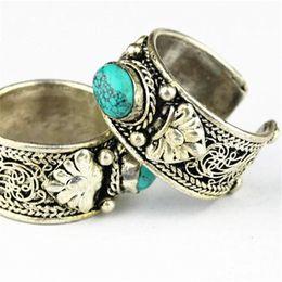 Wholesale Nepal Silver - Wholesale- R180 Tibetan Silver Inlaid Stone Rings Nepal Vintage Jewely
