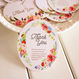 Wholesale Blank Gift Cards - 50pcs Vintage Flower Thank You DIY Scrapbooking Paper Kraft Blank Hang Tags Crafts Wedding Postcards Gift Tag Label Card