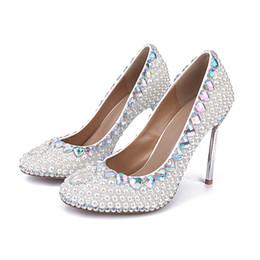 Wholesale High Comfortable Platform Wedding Shoes - Silver Stiletto Heel White Pearl Wedding Shoes Women's Platform Shoes Rhinestone Thin Heels Bridal Shoes Comfortable Party Shoes