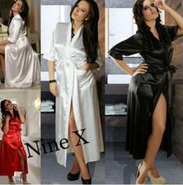 Wholesale Silk Pyjama Dress - Sexy Pyjamas for Womens Ladies Sexy Silk Kimono Bathrobe Dressing Gown Red blue black white Lingerie Sleepwear nightwear