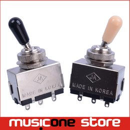 Wholesale Guitar Cream - Chrome 3 Way Toggle Switch for Electric Guitar with Black and Cream Tip Free shipping MU0217