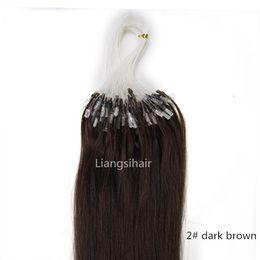 "Wholesale Micro Ring Extensions Dark Brown - Brazilian Hair Bundles 16""-26"" 100s 2# Dark Brown Loop Micro Ring Hair Extensions Straight Brazilian Peruvian Indian Malaysian Human Hair"