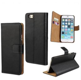 Wholesale Iphone 4s Case Wallet Style - For iPhone 6 6 Plus 4S 5S samsung galaxy S5 case 2 Credit Card Slots Wallet Book Style Real Genuine Leather Case with Stand 8 colors