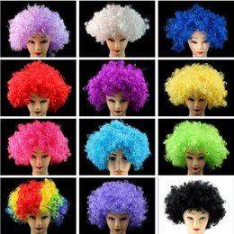 Wholesale Wig Disco - 10Pcs Lot 12 Colors Halloween Christmas Party Afro Curly Clown Wigs,Masquerade Explosion Head Funny Fluffy Wigs,Funky Bubble Hair Disco Wigs