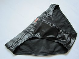 Wholesale Leather Briefs Xl - Funny Male Brief shorts Brand Gay Swimwear Latex Sexy cueca boxer men Faux leather swim trunk ropa interior hombre Slips calzoncillos Bikini