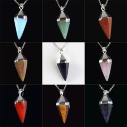 Wholesale Head Gems - 20X Mix Gem Stone Charm Silver Plated Head Hexagon Pyramid Reiki Pendulum Pendant Hypnosis Healing Chakra Amulet Pagan Wicca Witch Jewelry