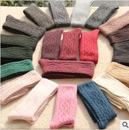 Wholesale Knee High Hose Wholesale - Wholesale-Free Shipping Retail Fashion Wool Thigh High Socks Warm Knee Women's Hose 13 Colors For Choose