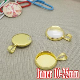 Wholesale 25mm Earring - New Style!!! Wholesale 100pcs Gold Plated Pendant Blank Jewelry Connectors with inner 10-12-14-16-18-20-25mm Bezel Setting Tray