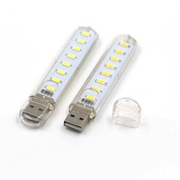 Wholesale Led Lights For Reading Books - Wholesale- Portable USB LED light Book lamp 5730 SMD 8Led 5V For Laptops Notebook Mobile Power Charger Camping Book Reading Bulb Nightlight