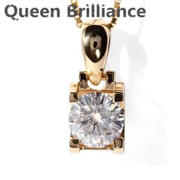 Wholesale Moissanite Yellow Gold - Queen Brilliance Real 18K 750 Yellow Gold AMAZING 1 ct F Color Lab Grown Moissanite Diamond Pendant &Necklace For Women q171026
