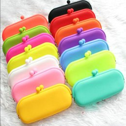 Wholesale Coin Purses Pochi - Candy Colors Pochi Waterproof Silicone Sunglasses Pouch Soft Eyeglasses Bag Glasses Case Rubber coin purse free shipping