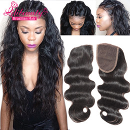 Wholesale Cheap Human Lace Front Closure - Cheap Body Wave Lace Closure Brazilian Virgin Human Hair top Lace Closure bleached knots Free Middle 3 Part lace front closures