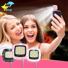 Wholesale Mini Flashing Leds - Selfie Ring Light Portable Smartphone Phone Selfie for iPhone 6 Plus Mini 16 Leds LED Flash Fill Light For iPhone 8 X Android Smartphone