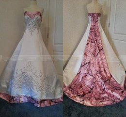 Wholesale Colored Plus Wedding Dresses - Custom Made Colored Pink Camo Wedding Dresses 2015 A-line Court Train Sweetheart Satin Lace-up Bridal Gowns Plus Size Wedding Dress