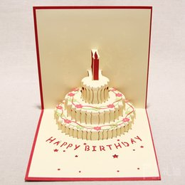 Wholesale 3d Handmade Card Designs - Handmade Kirigami & Origami 3D Pop UP Birthday Cards with Candle Design For Birthday Party Free Shipping (set of 10)