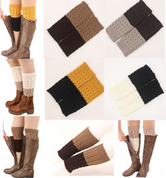 Wholesale cable knit knee socks - 2016 Women's TWO TONE REVERSIBLE BOOT CUFF diamond 6colors - Cable Knit Boot Sock Toppe