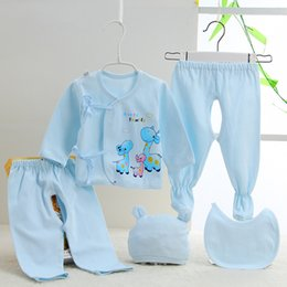 Wholesale Girls Jump Suits - Wholesale-2015 cartoon newborn new born rompers jumps cotton long sleeve baby babysuits boys and girls suits set 5 pieces clothing clothes