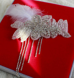 Wholesale Clip Fascinators - 2016 Newest style Handmade Luxury feather hair clips diamond headdress flower Bridal wedding jewelry accessories yzs168