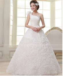 Wholesale Wedding Dresses Large Trains - China custom made Free Shipping Hot New 2015 One Shoulder White Large Size Princess Fashionable Wedding Dress Romantic Tulle Wedding Dress