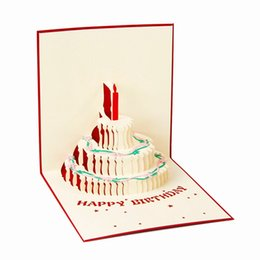 Wholesale New Handmade Birthday Cards - New 3D Handmade Card Birthday Card Cake Cutting Stereo Greeting Cards For Birthday Party Greeting Card As Gifts