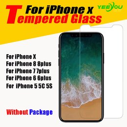 Wholesale Film Iphone Mirror - Tempered Glass Screen Protector Film For iPhone X 8 7 6plus For LG Stylo LS770 Samsung Galaxy S8 Plus S7 edge Without Pakcage
