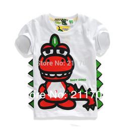 Wholesale Dinosaur Short Summer - Wholesale-2 Color boy short sleeve t-shirt dinosaur Print cotton T-shirt personality clothing Boy Pure cotton T-shirt