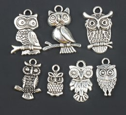 Wholesale 3D Bird Owl Charms Pendants Fashion styles Tibetan Silver Fit Bracelets Necklace Earrings Jewelry DIY