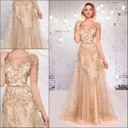 Wholesale New Fitted Evening Dress - Cheap Shining Gold Fitted Sheer Long Sleeve Evening Dresses 2018 New Lace Appliques Open Back Sequin Prom Dresses Glitzy Pageant Gowns 238