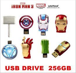 Wholesale Memory Drive 256 - Iron Man3 hand Energy ring series 256 gb USB Flash drive 2.0 Memory drive Stick Pen ThumbCar USB disk
