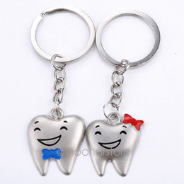 Wholesale Tooth Dentist Key Chains - Cartoon Teeth Keychain Dentist Decoration Key Chains Stainless Steel Tooth Model Shape Dental Clinic Gift free shipping zMPJ501