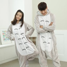 Wholesale Cheap Animal Anime Costumes - Lovely Totoro Unisex Animal Kigurumi Pajamas Cosplay Costumes Long Sleeve Cartoon Jumpsuits Winter Warm Indoor Home Sleepwear 2016 New Cheap