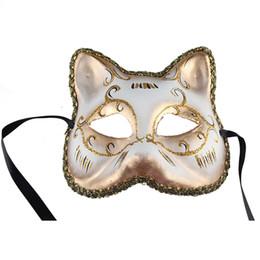 Wholesale Gold Venice Mask - European Christmas Cat Face Women Mask Half Face Venice Masquerade Party Sexy Beauty Mask Halloween Festive Favors 10pcs lot SD421