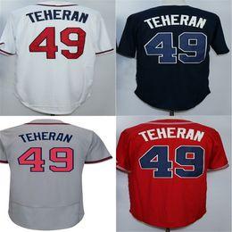 Wholesale Order Baseball Jersey Cheap - 2015 cheap Atlanta best quality jerseys mens womens kids 49 Julio Teheran white red grey blue baseball jersey,mix order,stitched logos