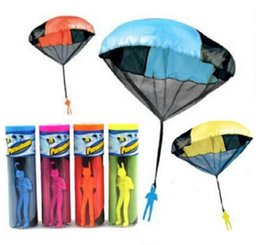 Wholesale Parachutes For Kids - DHL Free Shipping Parachute Launcher toy Sky Diver With Figure Soldier Flying Toys for Kids Children Outdoor Sport Play Toys