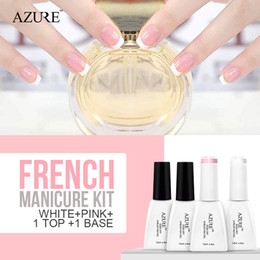 Wholesale guide tips - Azure New Soak Off Gel Polish White Pink French Manicure Nail Top Base Coat Free Tip Guides Drop Free Shipping Nail Polish 12ml