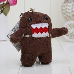 Wholesale Teddy Keyrings Wholesale - Wholesale-2pcs Lot 3.5'' DOMO KUN TEDDY KEYCHAIN KEYRING PLUSH DOLL JDM JAPANESE TOY PHONE CHARM Wholesale and Retail