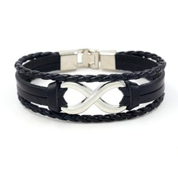 Wholesale leather word bracelets - New Men's Charm Bracelets 8 Word Leather Bracelet Lucky Cowhide Bangle Stainless Steel Infinity Symbol Braided wristband