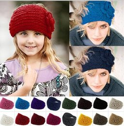 Wholesale Knit Winter Headbands Flower - 2015 Spring Fall Winter New Knit Woman Girls Headbands Girl Lady Students Weave Flower Solid Color Headband Hair Stick 20 Colors D3712